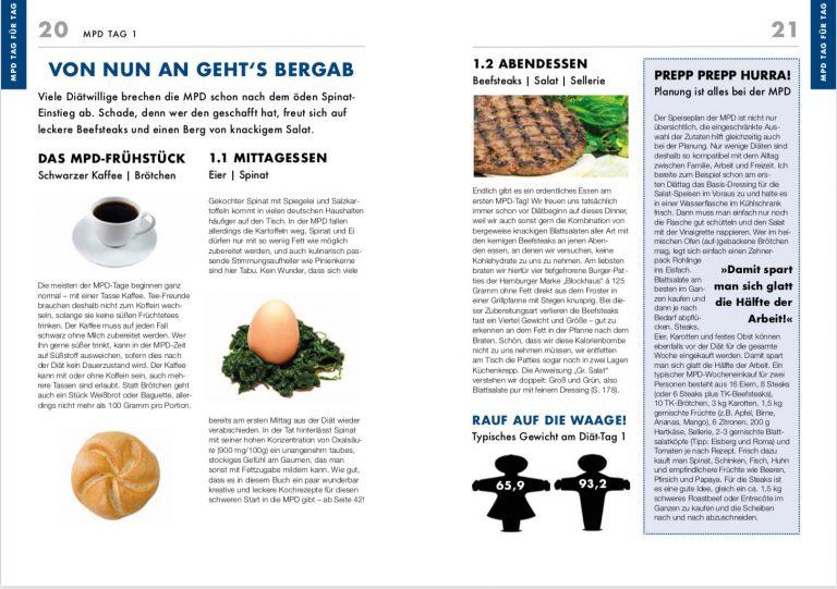 Ausführliche Vorstellung des Diätplanes mit je einer Doppelseite Infos für jeden Tag der Diät.
